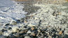 Seafoam with rocks wide Stock Footage