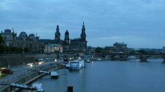 Germany Dresden skyline with Elbe river, Stock Footage