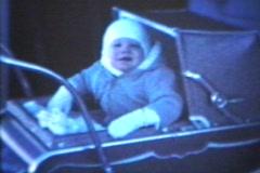 Baby In Pram (1963 - Vintage 8mm film) Stock Footage
