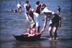Two Little Boys In A Boat (1963 - Vintage 8mm film) Stock Footage