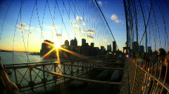 Brooklyn Bridge USA T-lapse (with Fish-eye) Stock Footage