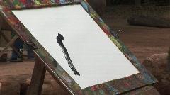 Thai elephant painting Stock Footage