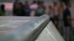 Skate Ramp Rail Closeup Stock Footage