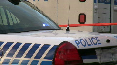 Close-up of police car on crime scene Stock Footage