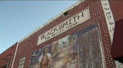 Art wall blacksmith mural Stock Footage
