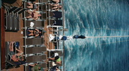 Stock Video Footage of Cruise ship rear deck and wake vertical P HD 4416