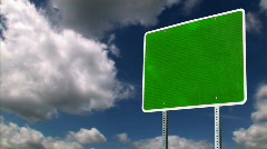 Blank Green Road Sign Background Stock Footage