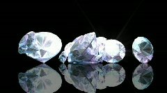 Falling Diamonds on Black with Flare HD1080 Stock Footage