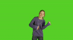 12 year old girl dancing crazy Stock Footage