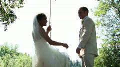 Happy Bride on Swing Stock Footage