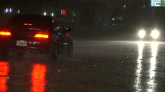 Night Traffic in Rain Close - stock footage