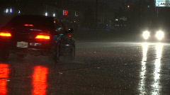 Night Traffic in Rain Close Stock Footage