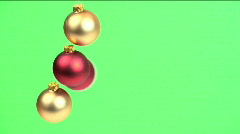 Christmas Balls Green Background Stock Footage