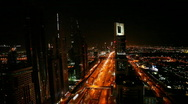 Dubai traffic at night Stock Footage