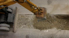 Stone crushing machine excavator construction site Stock Footage