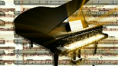 Black Piano With Golden Particles vbbhd0007 Stock Footage