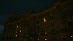 Stock Video Footage of HD1080p Reichstag building at night in Berlin