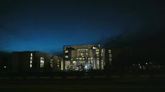 Stock Video Footage of HD1080p Berlin Kanzleramt by night
