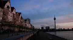 Germany Dusseldorf promenade at river Rhein Stock Footage