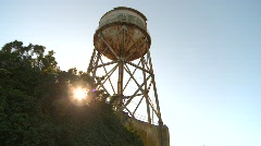 Alcatraz watertower Stock Footage