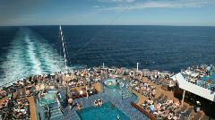 Cruise ship rear deck pools P HD4442 Stock Footage