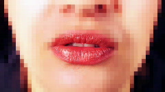 Woman lips face kiss cute sexy Stock Footage