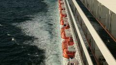 Cruise ship side balcony liferaft Ocean P HD 4298 Stock Footage