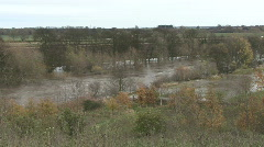 Long shot of flooding on the River Tees. Stock Footage