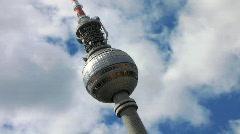 Germany Berlin Alexanderplatz TV tower and world watch Stock Footage