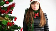 Stock Video Footage of woman with Merry Christmass