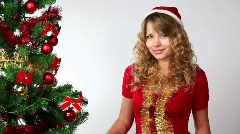 Woman with Merry Christmass  Stock Footage