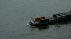 Germany Düsseldorf Barge boat at river Rhein, Stock Footage
