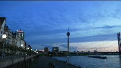 Time-Lapse Germany Dusseldorf promenade Rhein Stock Footage