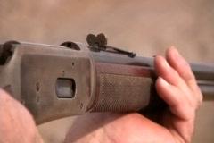 Man Shooting A Gun / Rifle Stock Footage