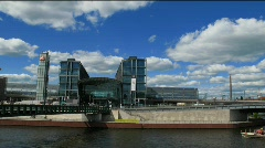 Germany Berlin cruise at Government district river Spree Stock Footage