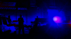 Police night time crime scene 3 (filtered) Stock Footage