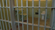Alcatraz prison, #9 cells, individual cell Stock Footage