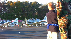 Boy watching planes02 Stock Footage
