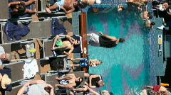 Ship swim pool pan Vertical P HD 4293 Stock Footage