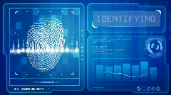 Fingerprint scan (blue) Stock Footage