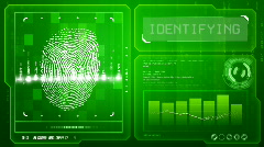 Fingerprint scan (green) Stock Footage