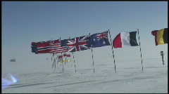 South Pole Flags - stock footage