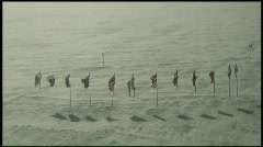 South Pole Flags Wide - stock footage