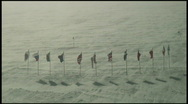 South Pole Flags Wide Stock Footage