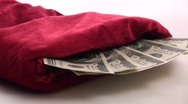 Christmas stocking filled with cash - HD  Stock Footage