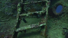 SS Thistlegorm ladders to bow section Stock Footage