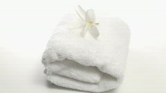 Spa towel with Frangipani flower zoom - HD Stock Footage