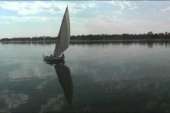 Felucca sailing the Nile Stock Footage