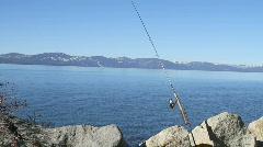 Fishing pole in Lake Tahoe Stock Footage