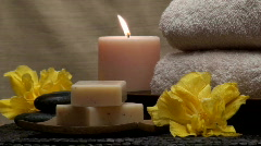 Spa Zen scene with hibiscus flower V2 - HD - stock footage